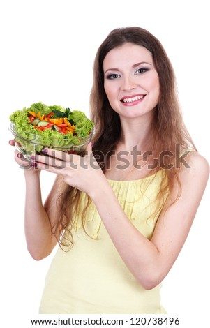 Beautiful woman with vegetable salad isolated on white