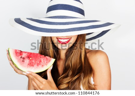 beautiful woman with watermelon