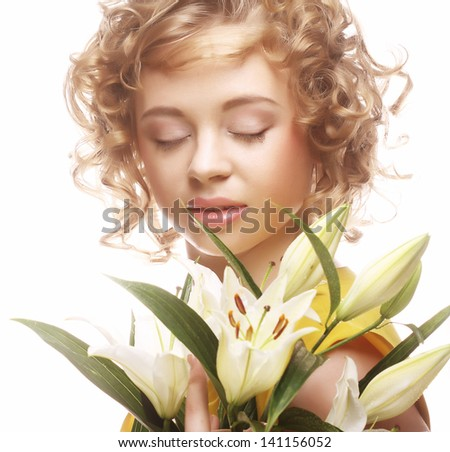 beautiful woman with white lily - stock photo