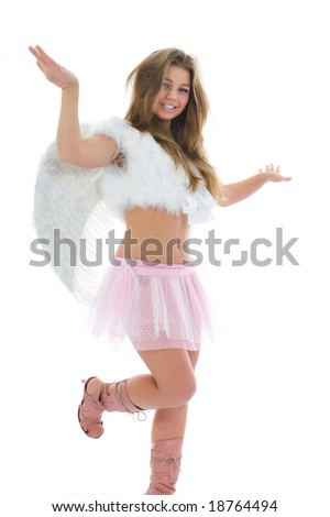 Beautiful woman with wings on isolated background