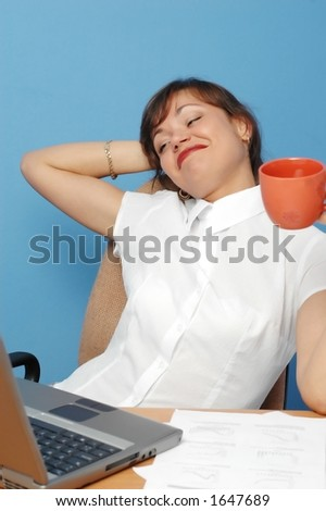 Beautiful Woman Working on Laptop - stock photo