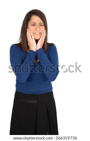Beautiful women doing different expressions in different sets of clothes: toothache - stock photo