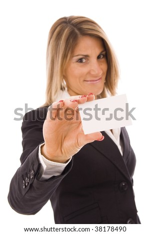 Beautiful women holding her business card (focus on the hand)