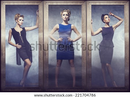 Beautiful women in fashion dresses posing in golden frames. Set of different models.