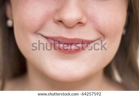 Beautiful women lips closeup. Emotion on his face. - stock photo