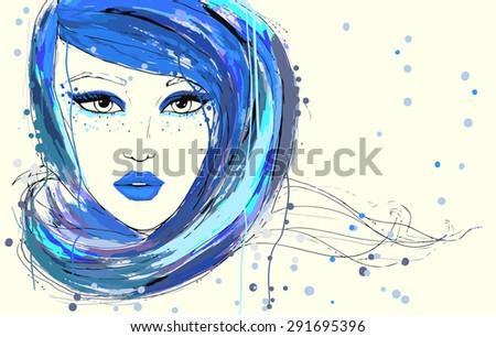 Beautiful women portrait, painted fashion illustration - stock photo