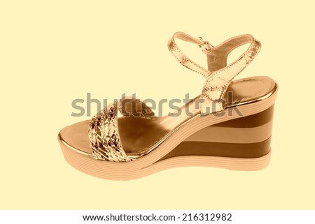 beautiful Women's high-heeled color sandals on a white background