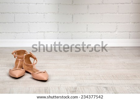 Beautiful women shoes with  on the floor - stock photo