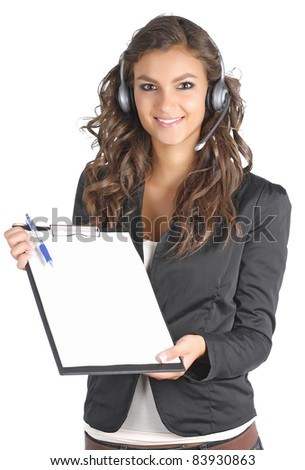 Beautiful women with a questionnaire - stock photo