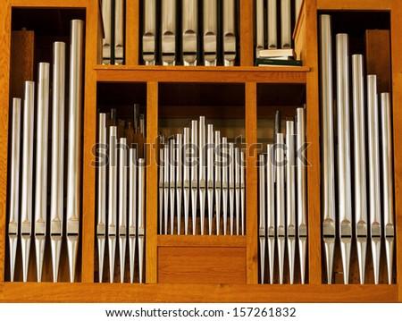 Beautiful wood organ detail - stock photo