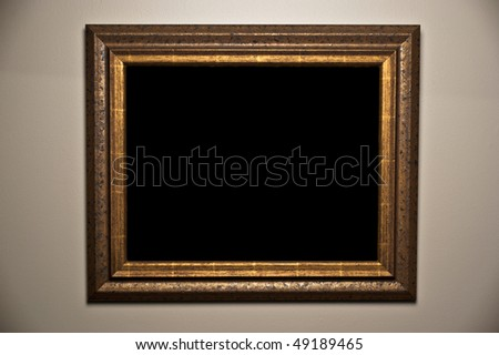 Beautiful wooden art frame blank template. Copy space for your image or text message. - stock photo