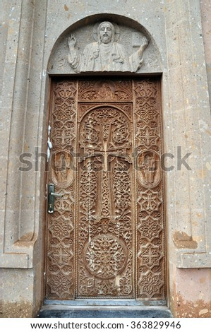 Beautiful wooden door in the new church, Jermuk, Armenia