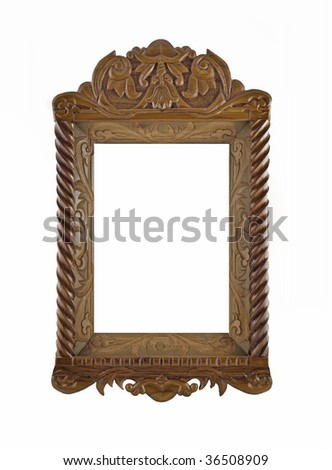Beautiful wooden Frame for picture useful as icon case over white - stock photo