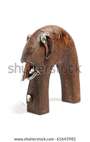 Beautiful wooden statue of elephant  . isolated on white background - stock photo