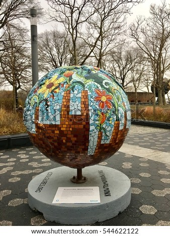 Beautiful world map cool flower globe stock photo edit now beautiful world map as cool flower globe on battery park new york usa 26 december 2016 gumiabroncs Images
