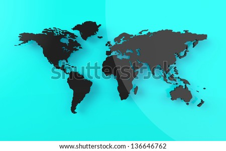 Beautiful world map on blue background