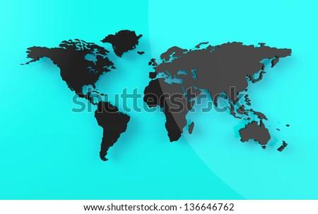 Beautiful world map on blue background - stock photo