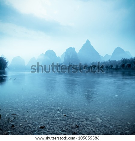 beautiful yangshuo landscape in guilin, China - stock photo