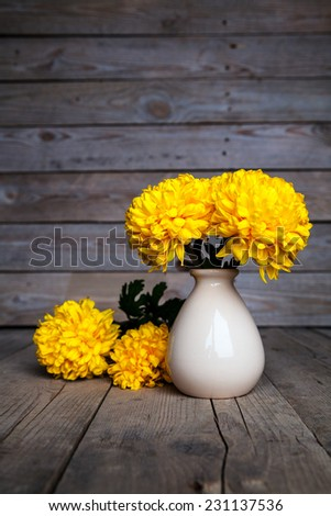 Beautiful yellow chrysanthemum on the old wooden background. Pottery vase with flowers.