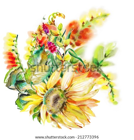 """Beautiful Yellow flower, Watercolor painting. Album """"Bouquet of flowers."""" """"Autumn fall""""."""" Sunflower."""" - stock photo"""