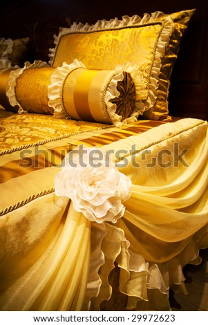 beautiful yellow pillows on the beds of modern