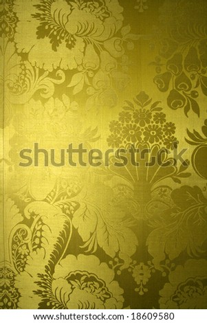 Beautiful yellow silk wallpaper in baroque style