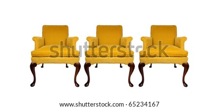 Beautiful yellow vintage chairs - stock photo