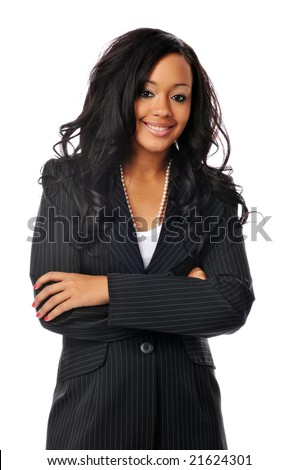 Beautiful young african american businesswoman smiling isolated on white