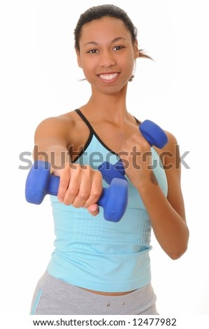 Beautiful young african american girl doing a fitness workout with weights - stock photo