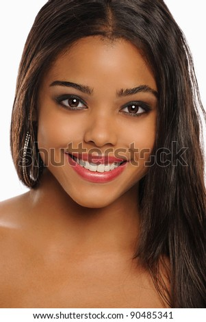 Beautiful Young African American Portrait isolated on a white background - stock photo