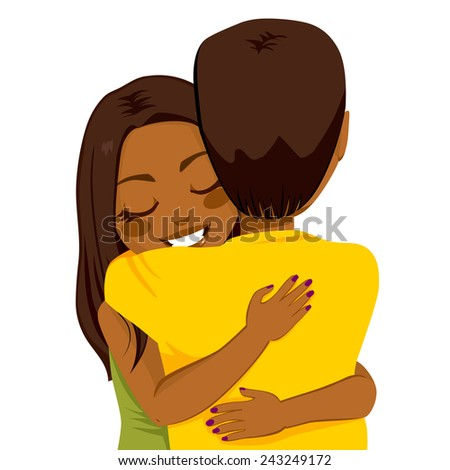Beautiful young African American woman hugging man with tender love and passion - stock photo