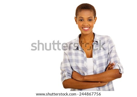 beautiful young african american woman looking at the camera - stock photo