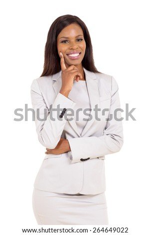beautiful young african businesswoman isolated on white - stock photo