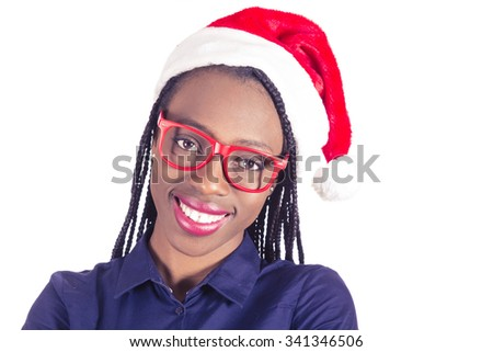 beautiful young African girl with Christmas hat