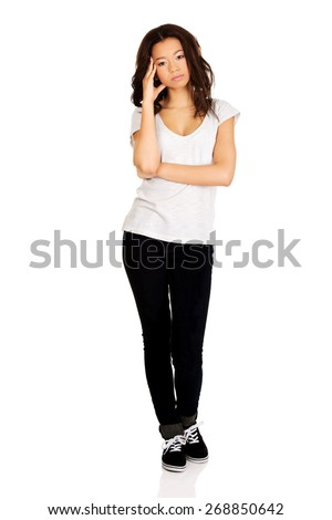 Beautiful young african pensive teenager. - stock photo