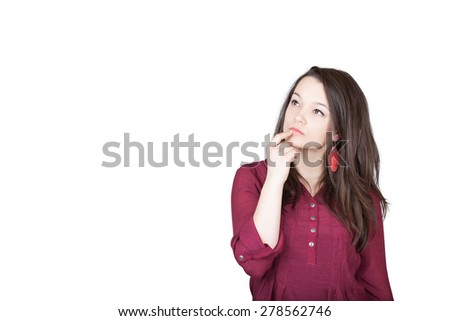 Beautiful young and pretty woman wondering (thinking) for something in front of white background (isolated) - stock photo