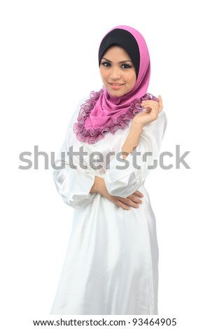 Beautiful young asian muslim smile isolated white background - stock photo
