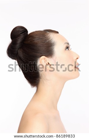 Beautiful young Asian woman hairstyle - stock photo