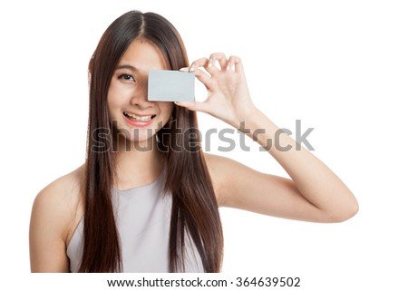 Beautiful young Asian woman hold a blank card  isolated on white background - stock photo