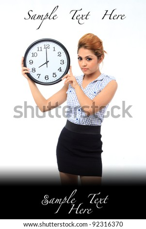 Beautiful young asian woman hold a clock show time at eight o clock isolated white background - stock photo