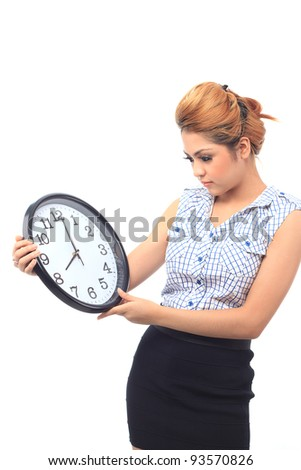 Beautiful young asian woman look at a clock show time eight o clock isolated white background - stock photo