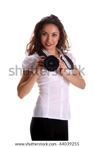 beautiful young asian woman posing with camera in studio