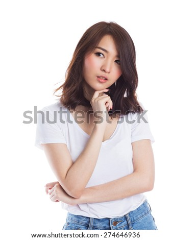 Beautiful young asian  woman thinking on white background - stock photo