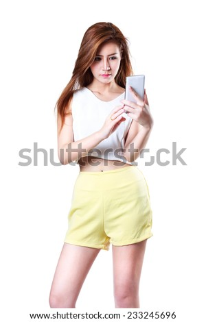 Beautiful young asian woman using smart phone, Isolated Over white - stock photo