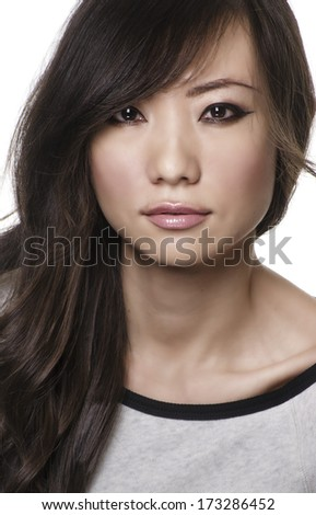 Beautiful young Asian woman with beautiful long hair isolated against white