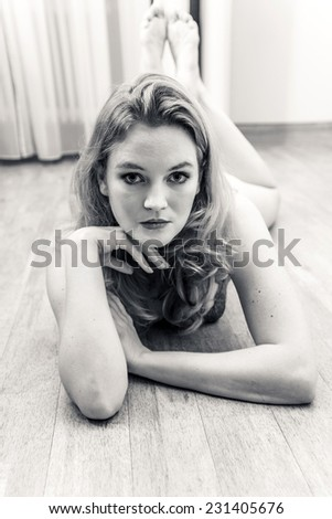 beautiful young attractive caucasian woman in lingerie  - stock photo