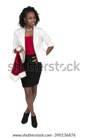 Beautiful young black woman holding a Santa hat