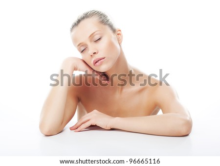 Beautiful young blond hair girl healthy face with closed eyes. Perfect skin care concept - stock photo
