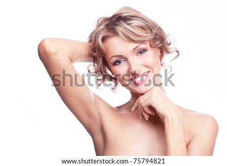 beautiful young blond, isolated against white - stock photo