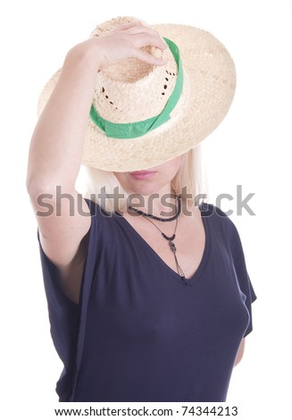 Beautiful young blond woman in a straw hat,  isolated on white background - stock photo